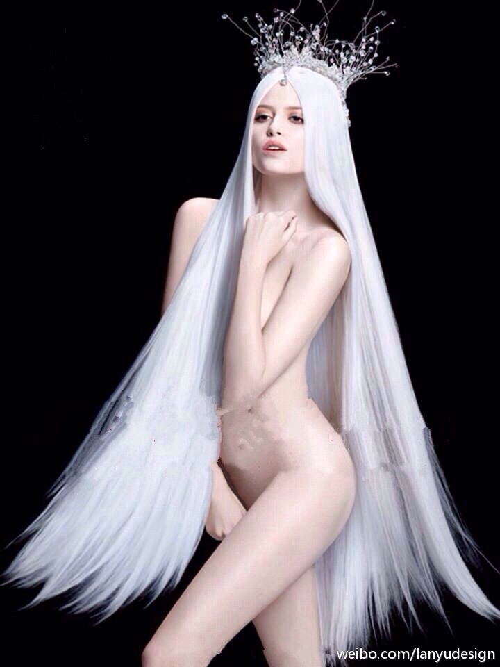 Haired girl nude white