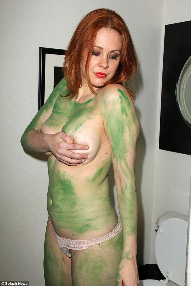 Green paint girls topless