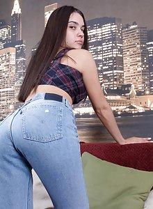Porn girl in jeans