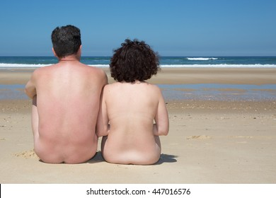 Beach couple nudist vintage