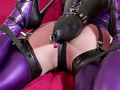 Japanese girls in latex bondage