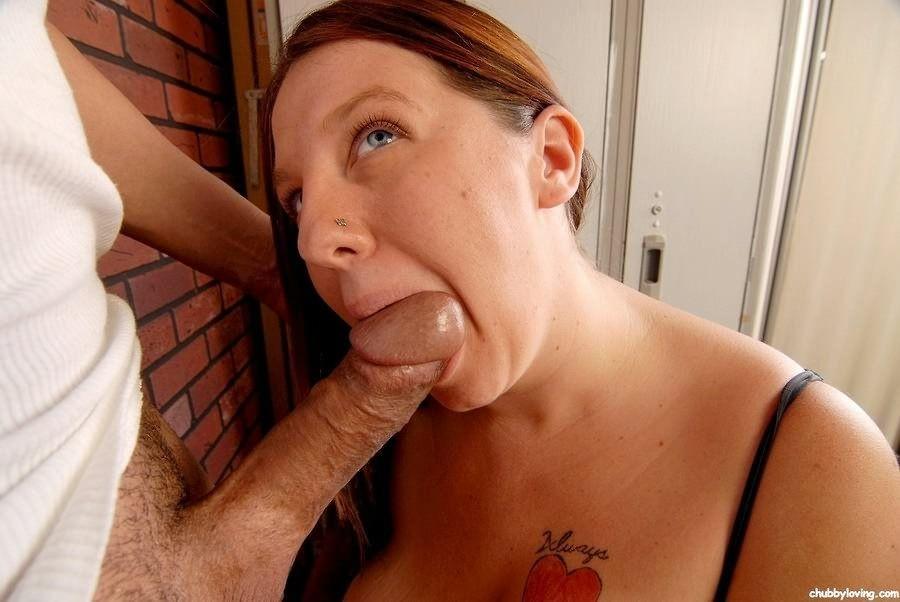 Redhead big tits blowjob cum