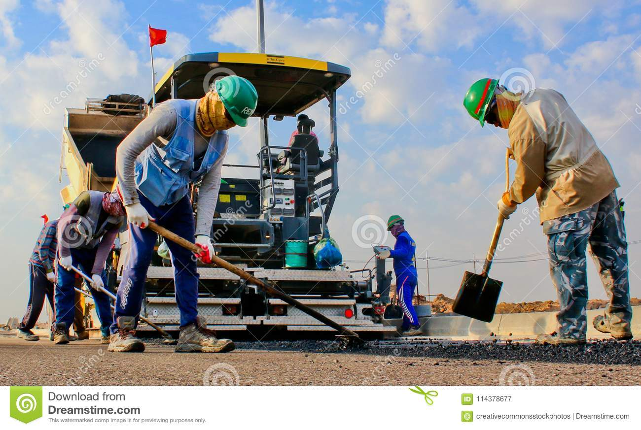 Construction workers in public