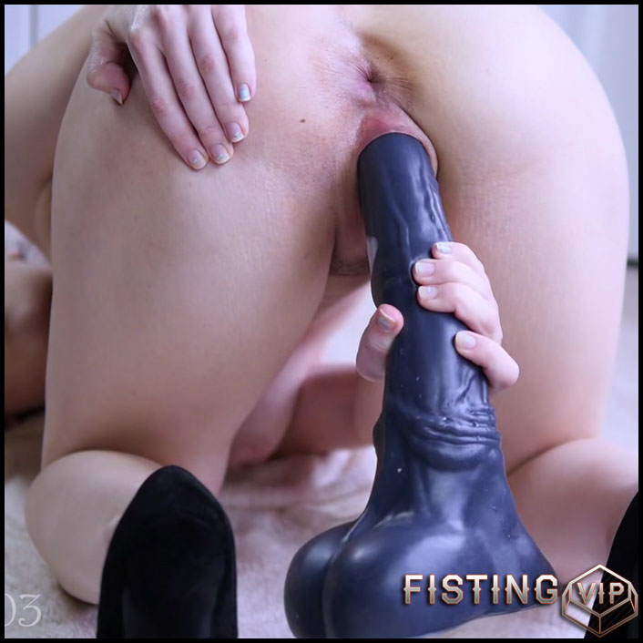 Busty shaved pussy dildo
