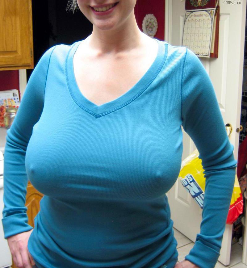 Big tits hard nipples through shirt