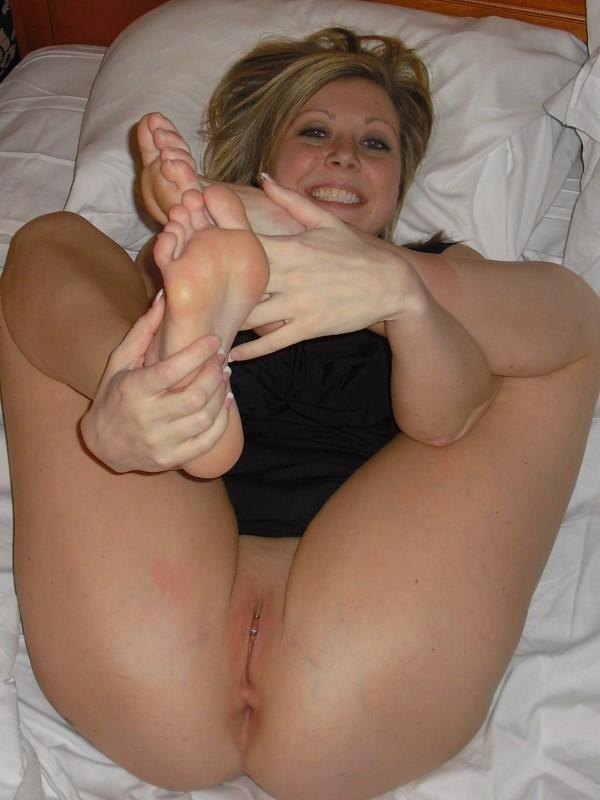 Wife legs spread naked