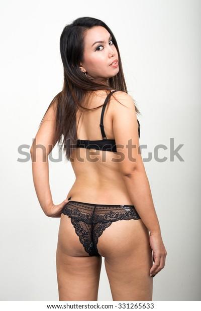Asian girl see through panties
