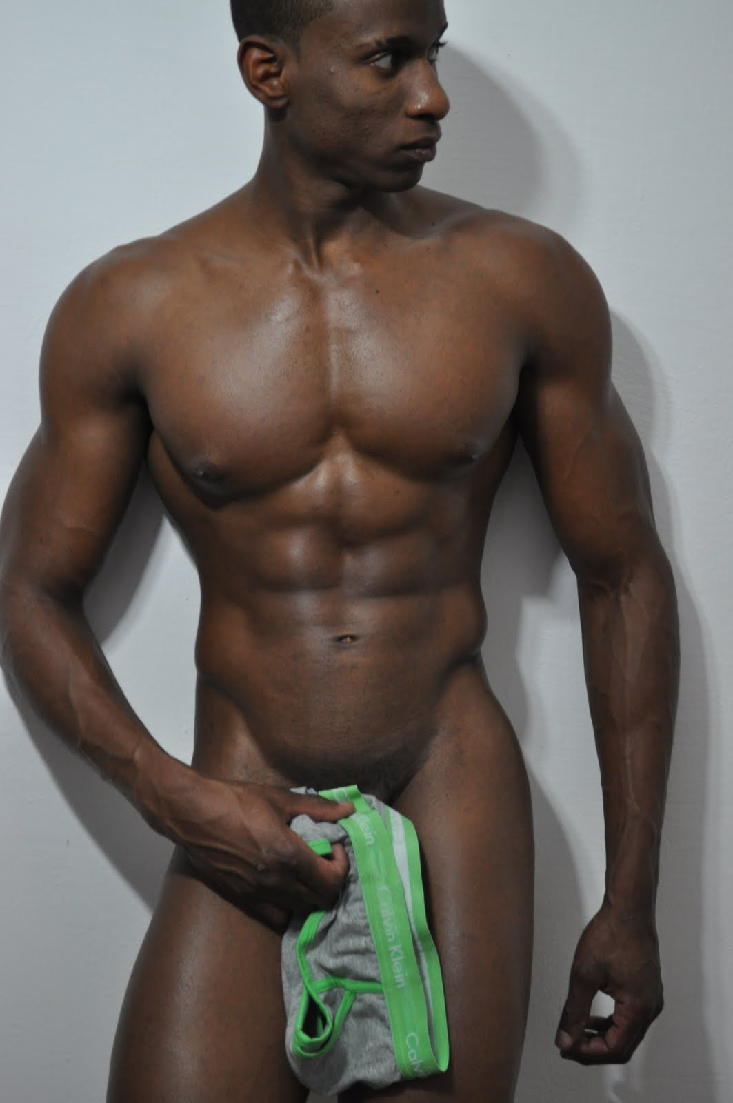 Black old fit man naked