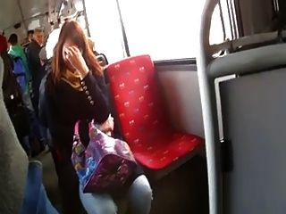 Teen girls flashing on bus