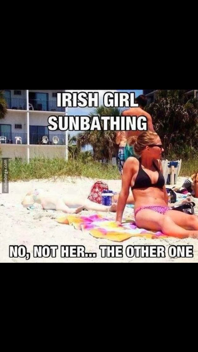 Funny irish girl sunbathing