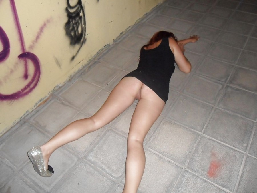 Street drunk girls passed out naked