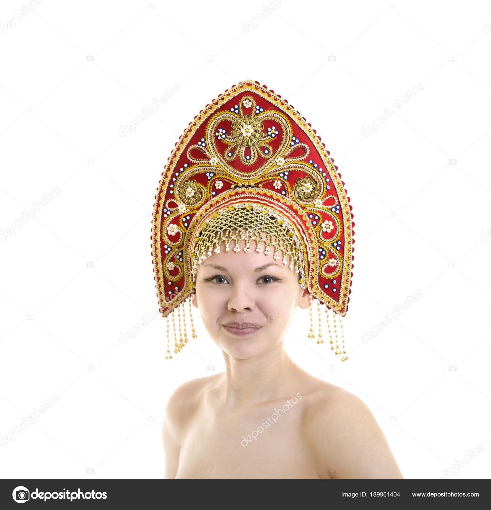 Nude indian girl in headdress