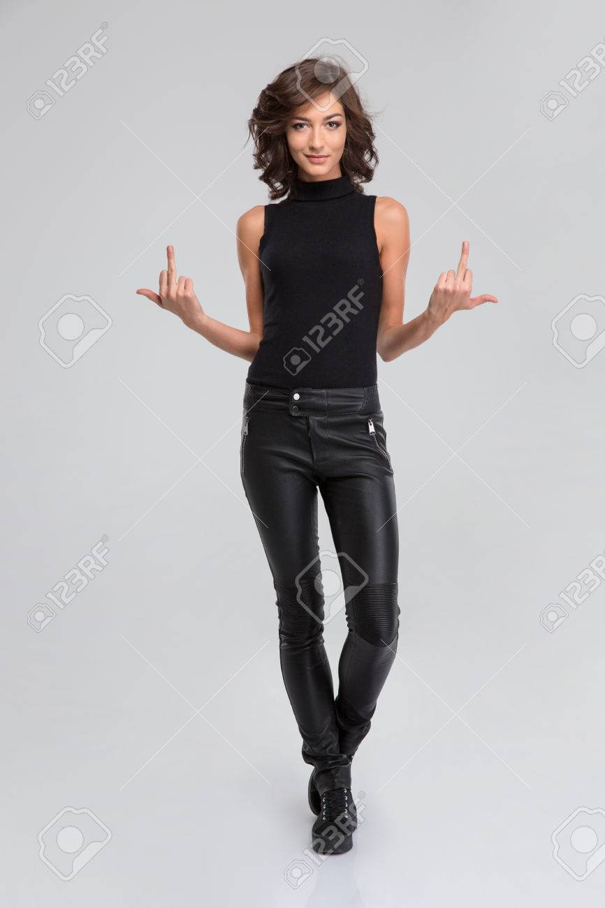 Black leather trousers girl