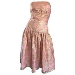 Vintage metallic lace halter dress