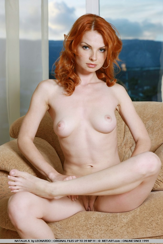 Nude with freckles pale redhead