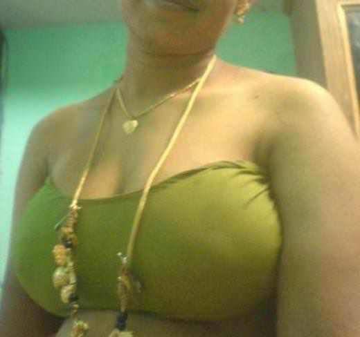 Boobs green blouse big aunty in