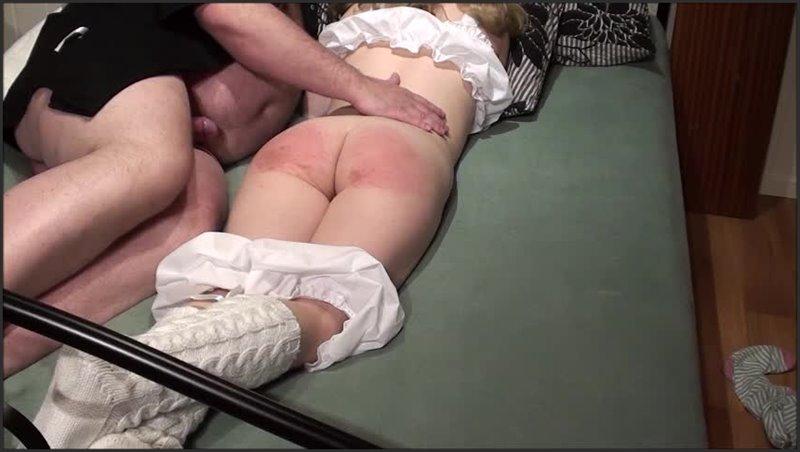 Old man spanks girl