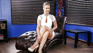 Girl sits on big nasty dildo