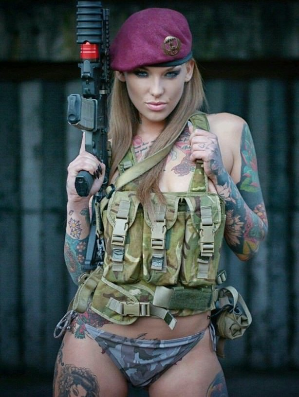 Hot nude military girls in camo