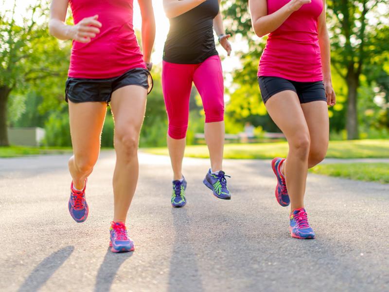Teen girls in the wood adventure jogging