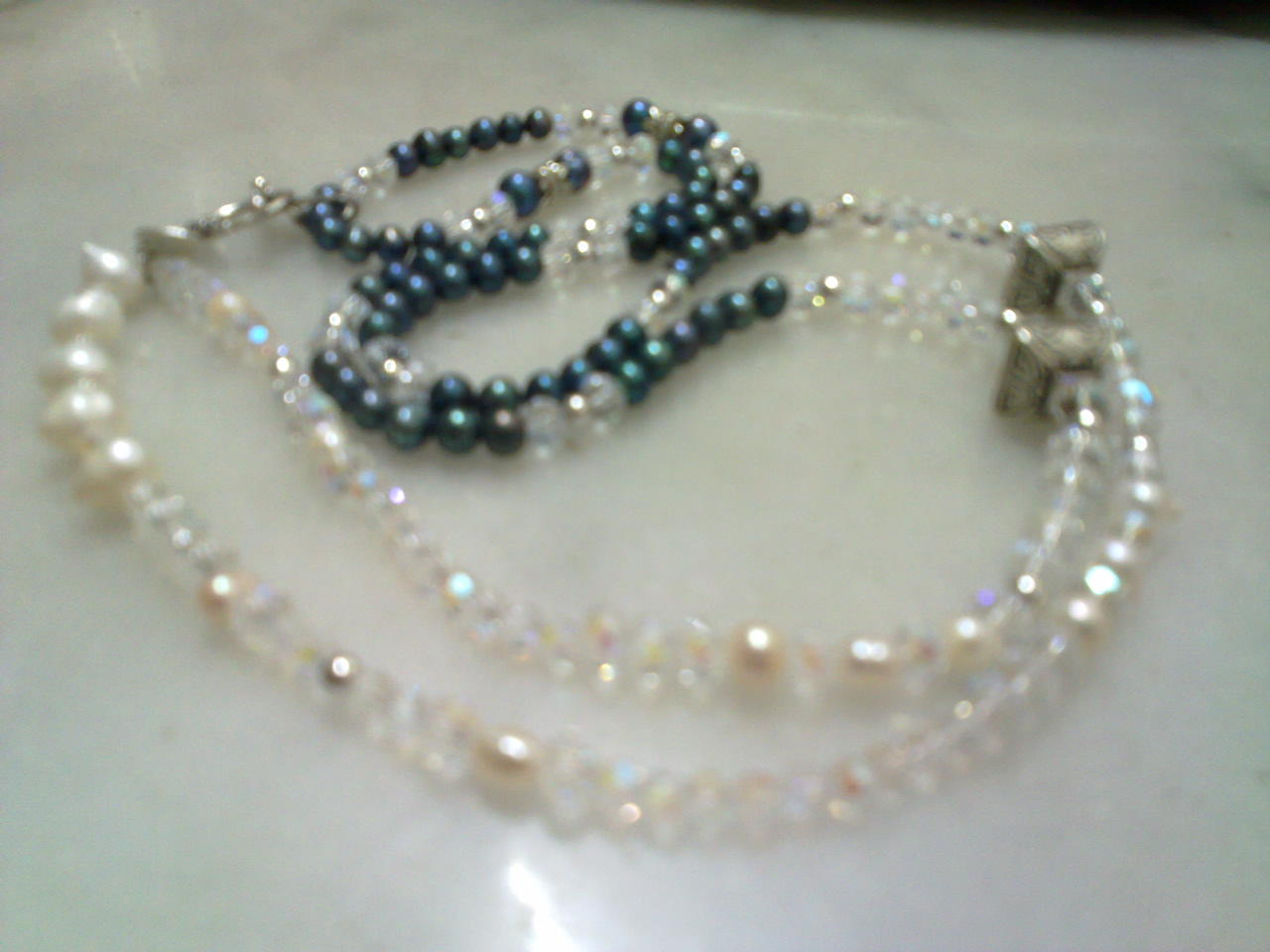 Pearl necklace cum on body