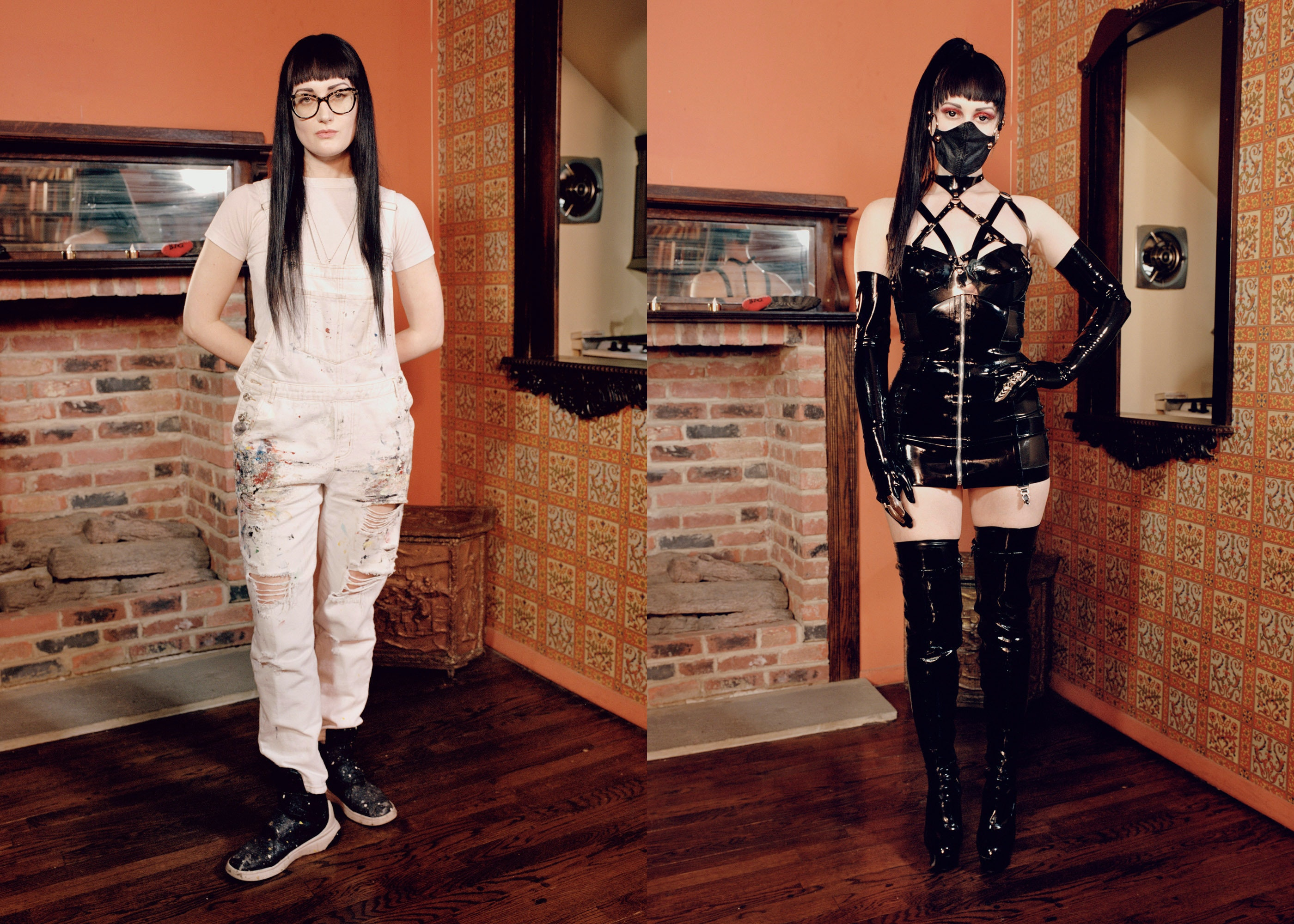 In bondage while wearing street clothes