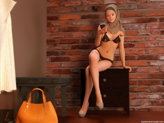 Hijab with nude model