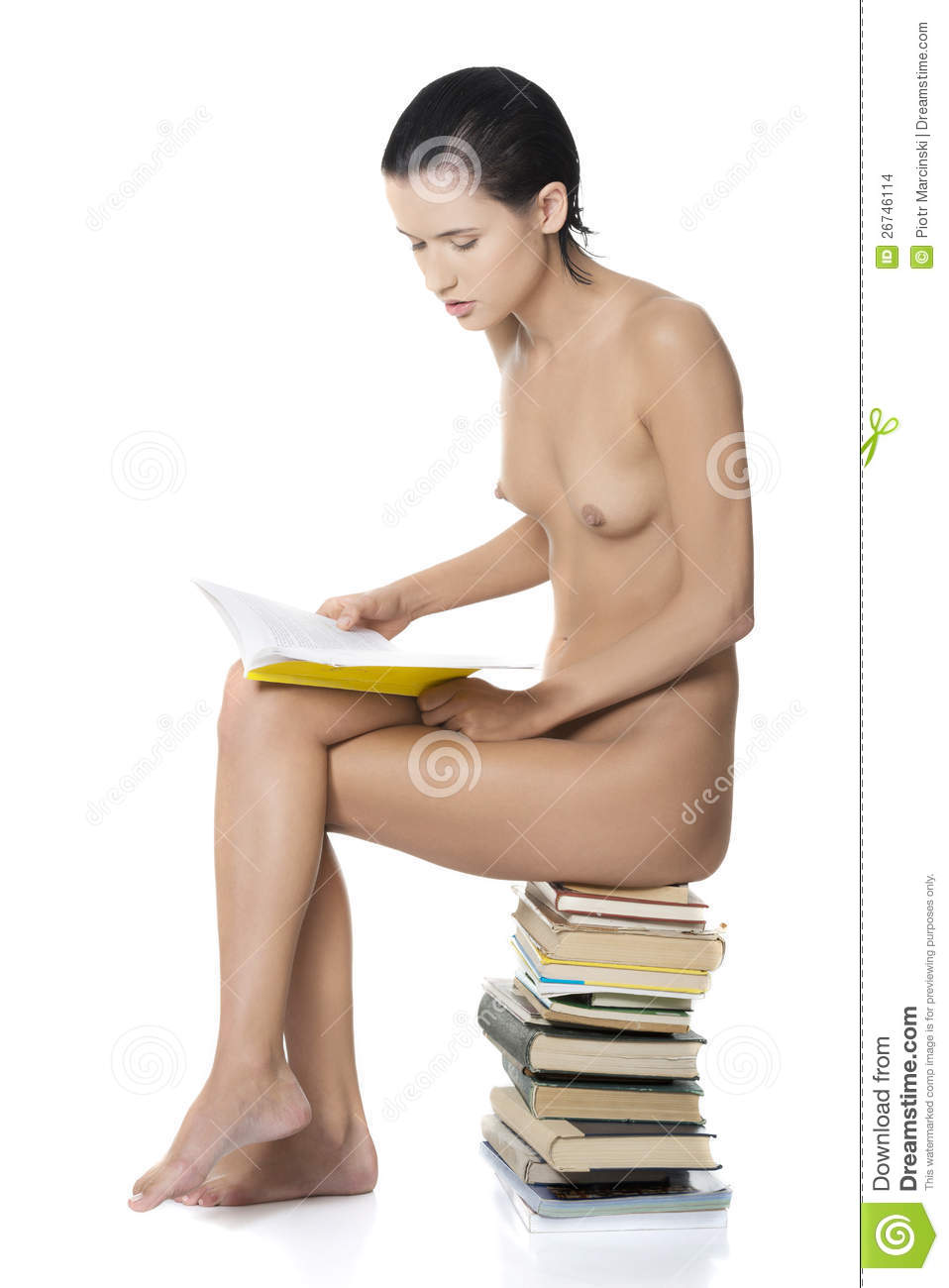 Naked women with books