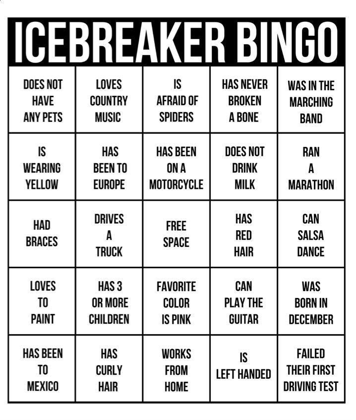 Ice breakers for adult
