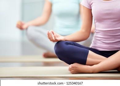 Lesbian mature no bra yoga