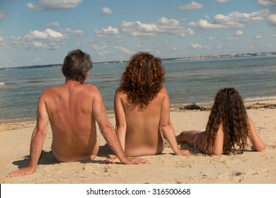 Beach naked real family