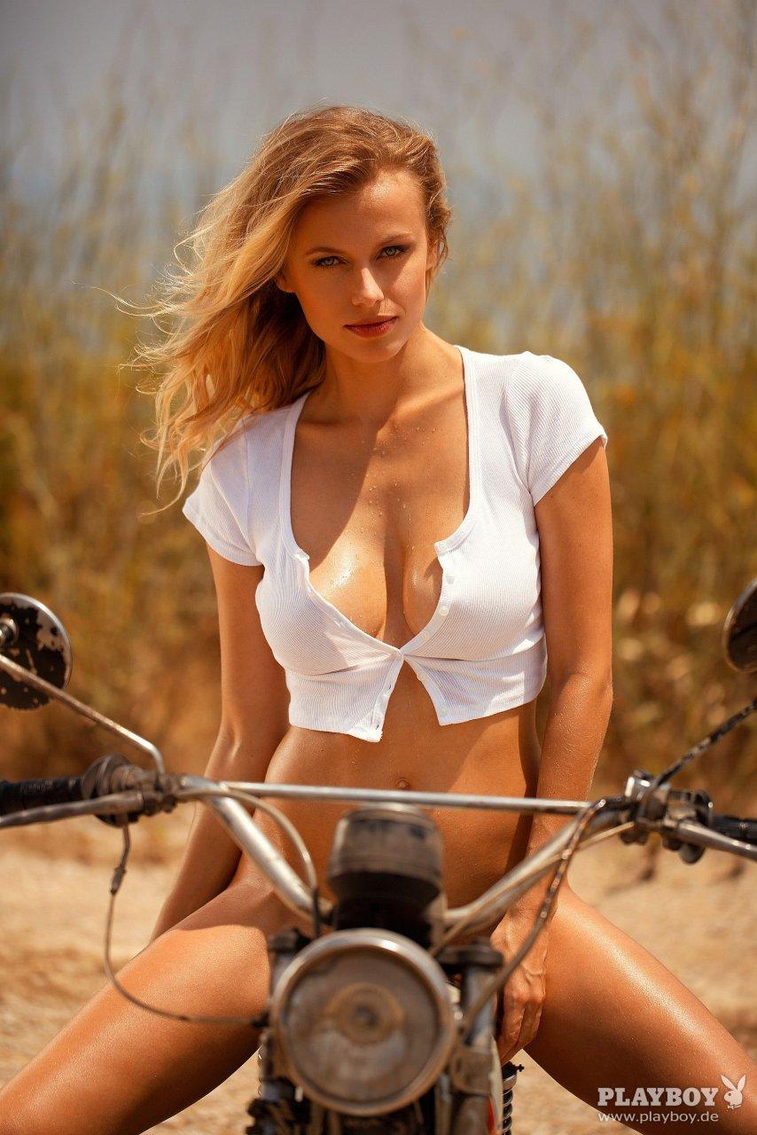 Playboy girls nude on bike