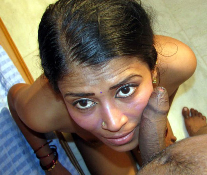 Indian girl giving double blowjob