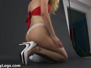 Blonde nylon high heel porn