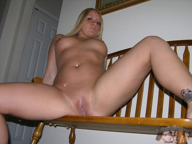 Blonde spread eagle bald pussy
