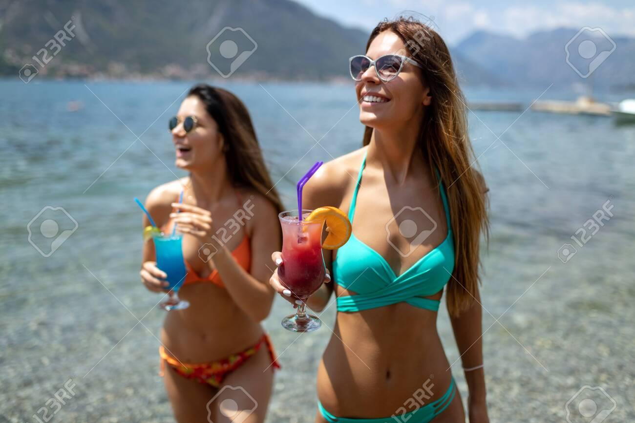 Beautiful young girls at beach