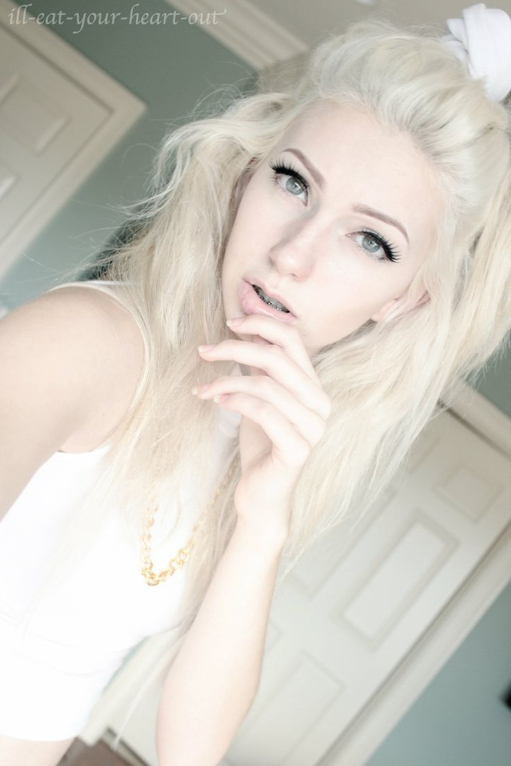 Pale white blonde girl