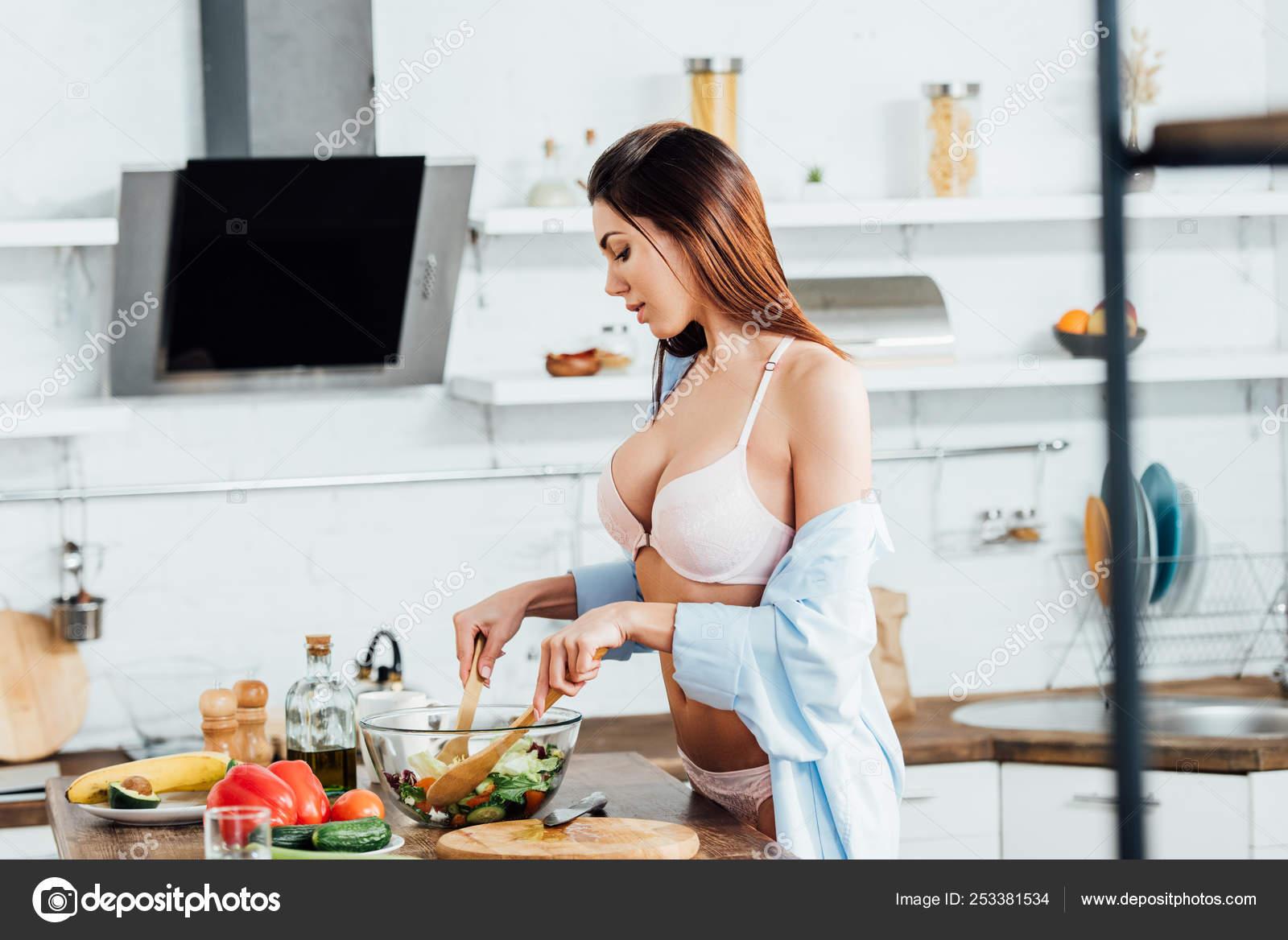 Girls cooking in their panties