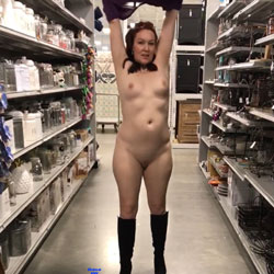 Mature women exposing panties in public