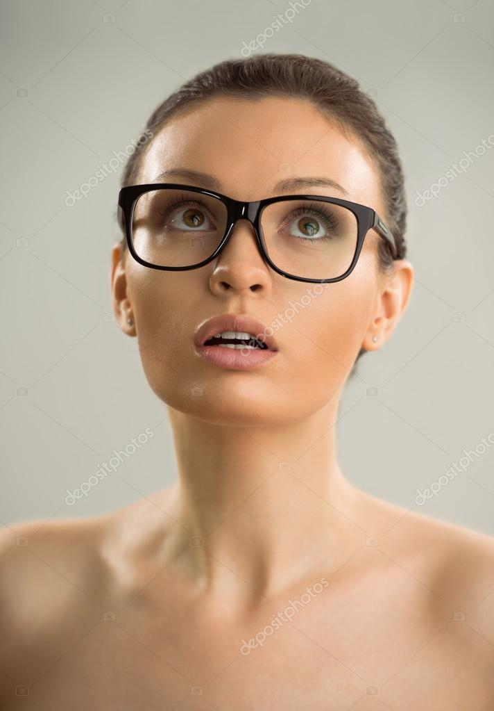 With nude wearing women glasses