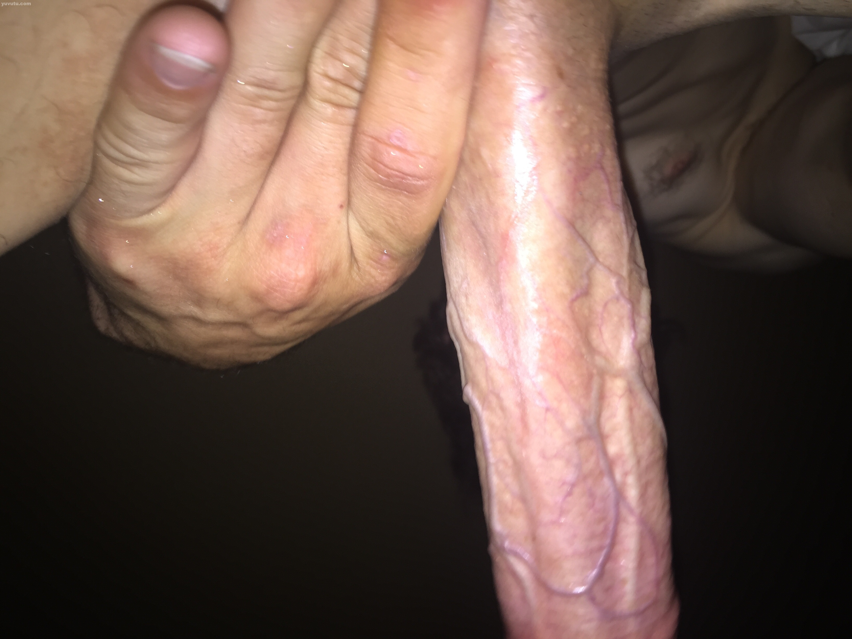 Big white uncut cock hard