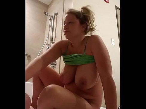 Jiz on my huge breasts