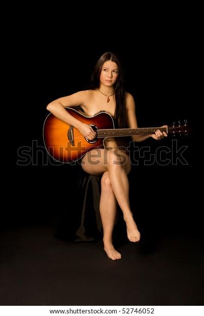 Girl naked play guitar