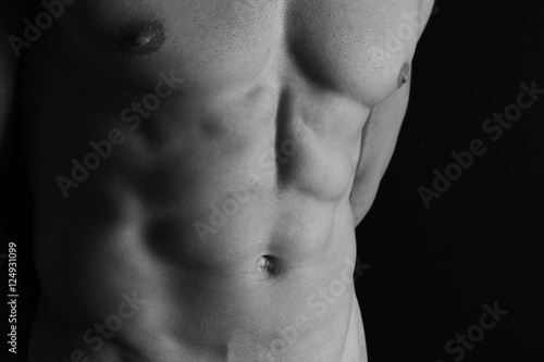 Six pack abs men with chest hair