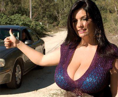 Topless big tits hitchhiker s