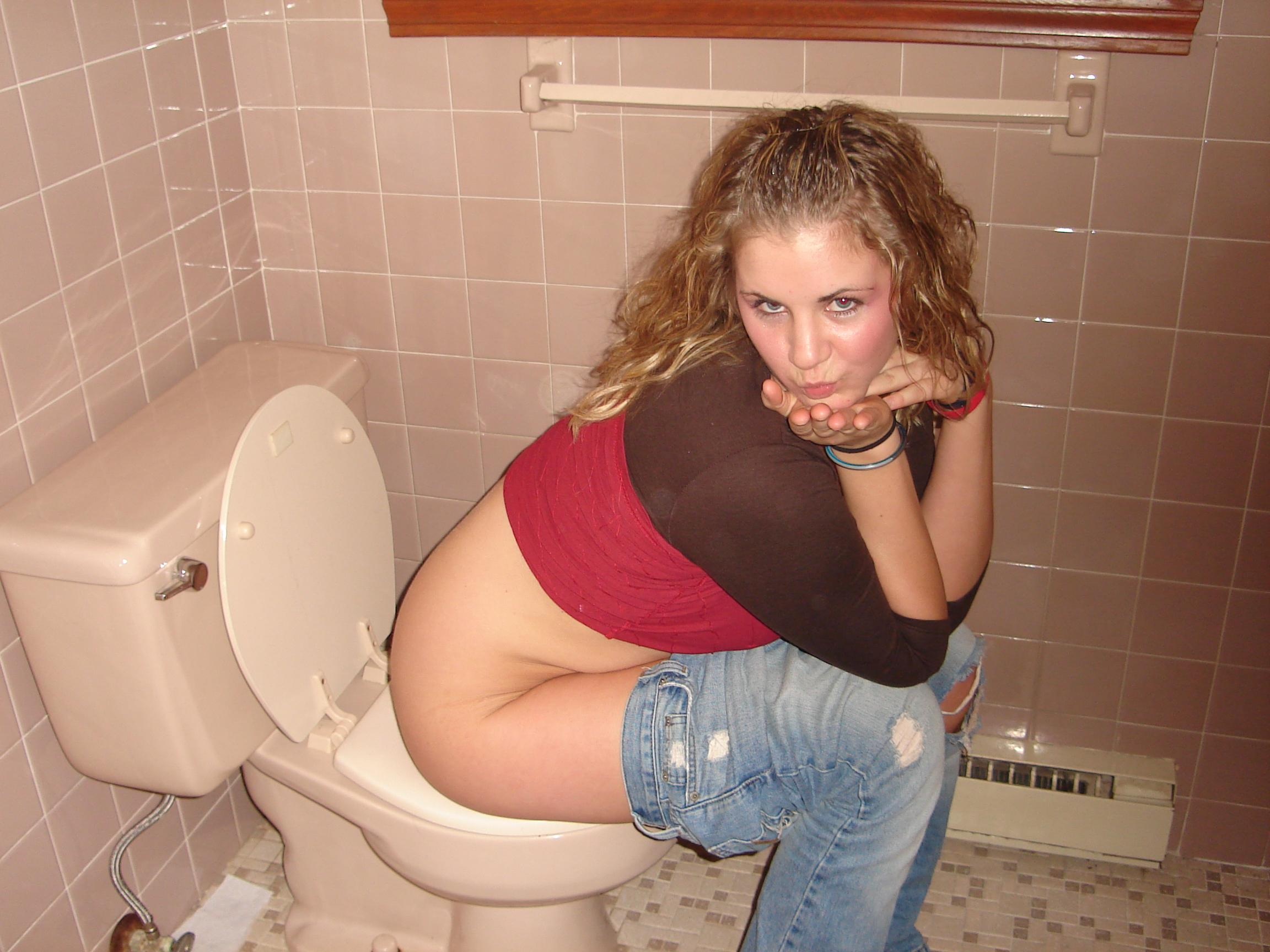 Girl on toilet panties down pussy