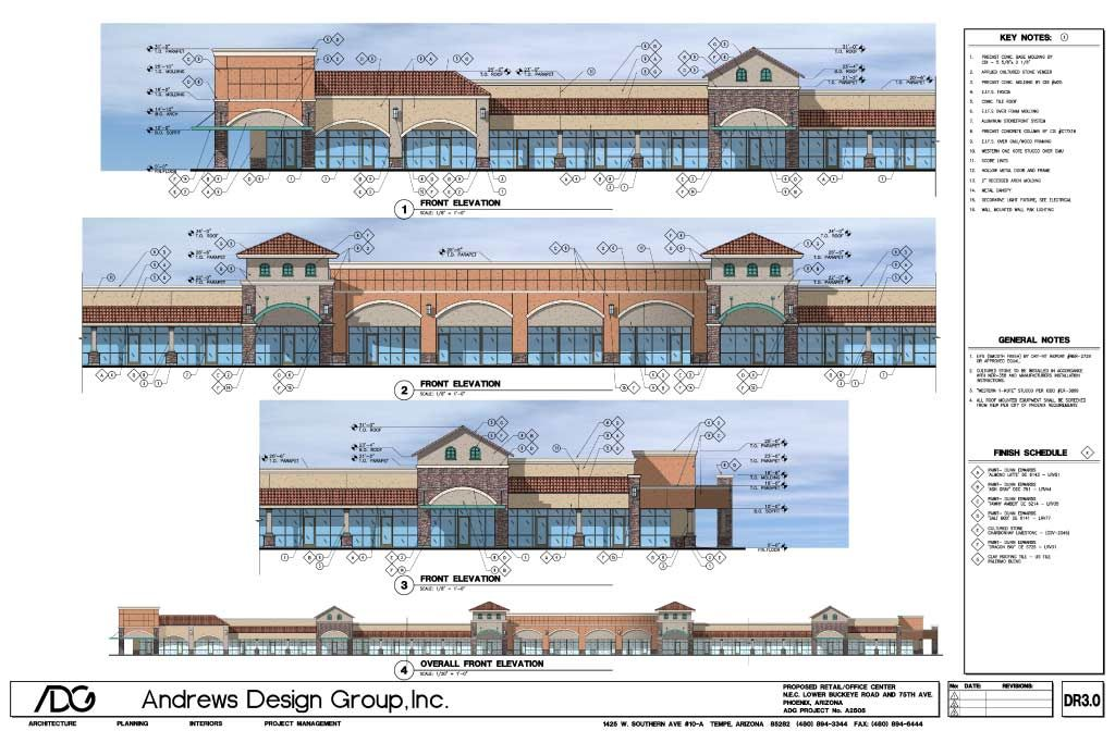 Architectural drawings of strip malls
