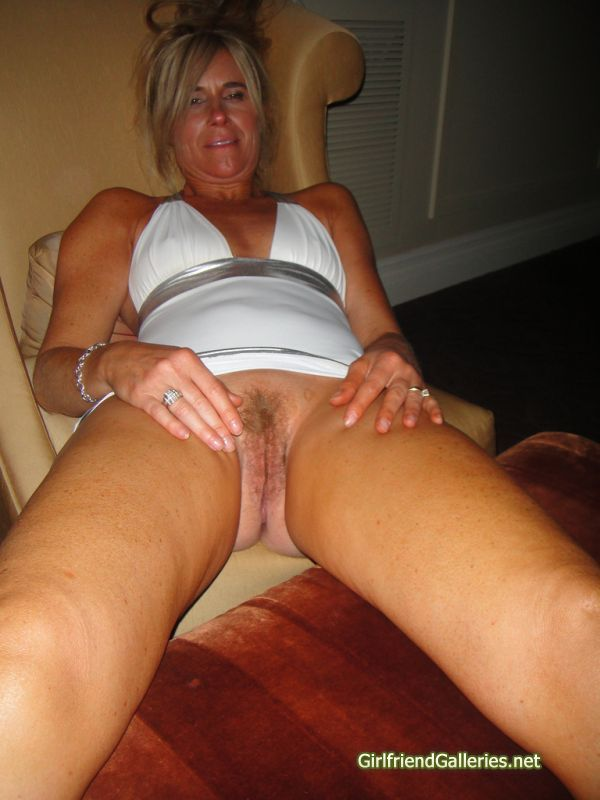 Mature hairy wife spreading
