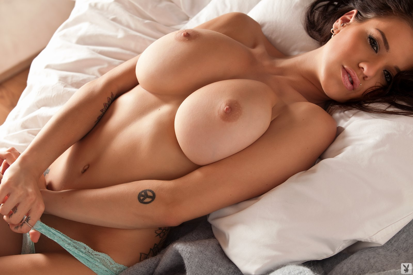 Girl boobs lying down