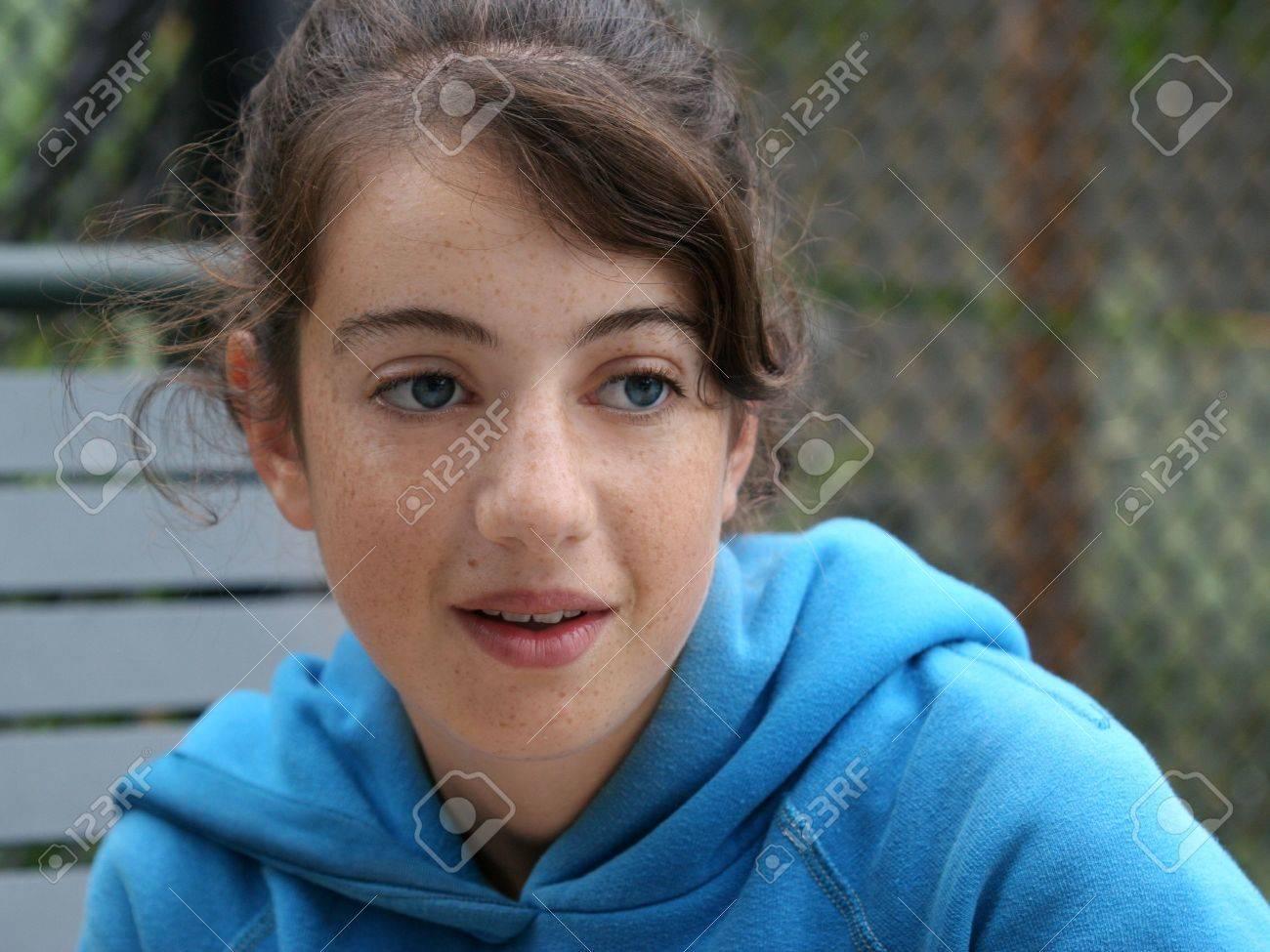 Shy brunette teen girl